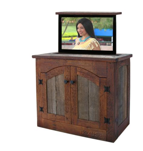 Rustic TV Lift Cabinet, Rustic Cabinet, Adirondack