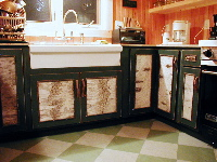 Birch bark rustic cabinets.We can either build the entire case piece